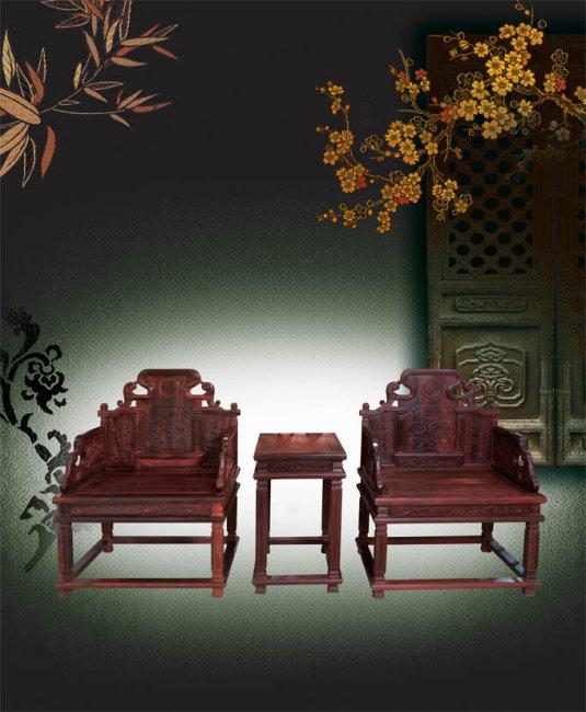 红木家具 小叶紫檀宝座分层图图片