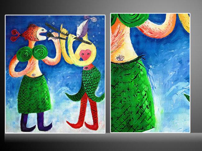 油画 抽象 人物油画 卡通图片