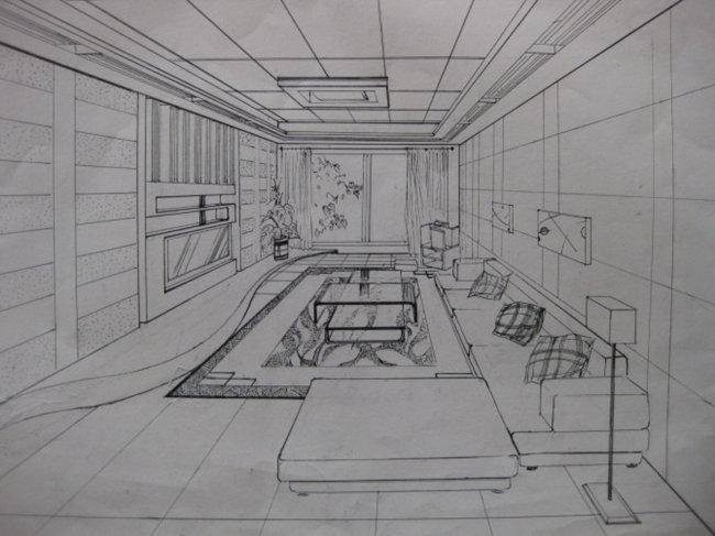 透视 手绘 室内客厅