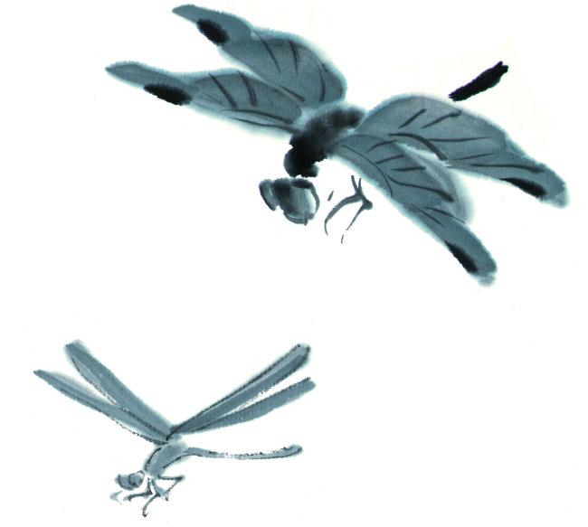 幼儿水墨画蜻蜓步骤图
