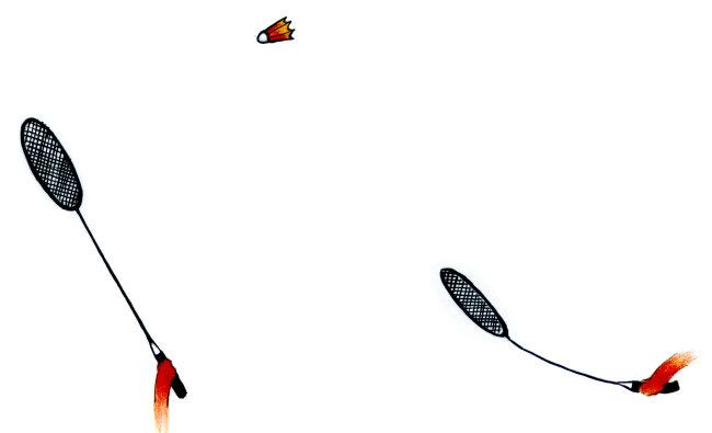 手绘打羽毛球图片
