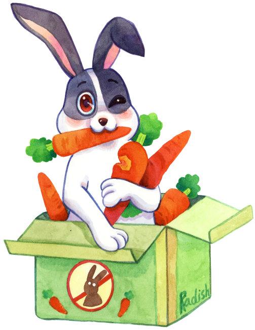 兔子和胡萝卜_卡通兔子吃胡萝卜