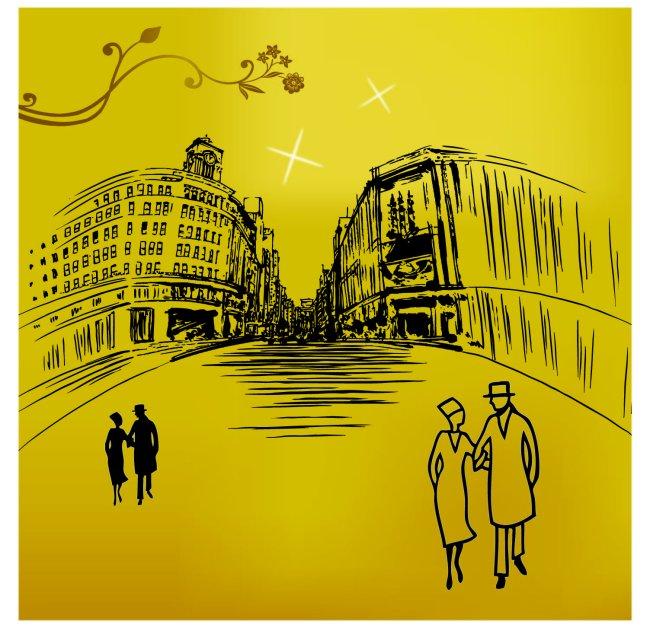 欧式建筑墙贴画-插画|元素|卡通-其他
