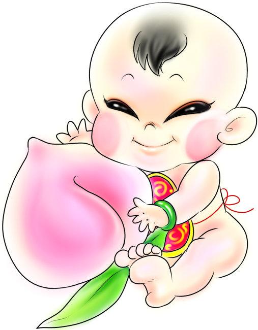 握着 人物画像 服装 微笑 桃子 小孩 孩子 卡通人物 卡通 插画 全身像