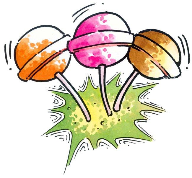 三个彩色棒棒糖 插画