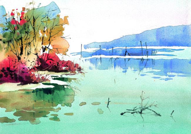 写意秋天乡村风景插画