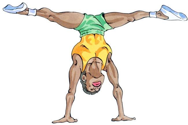 一字腿倒立运动员 手绘插画