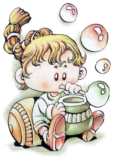 小女孩吹泡泡 星座插画