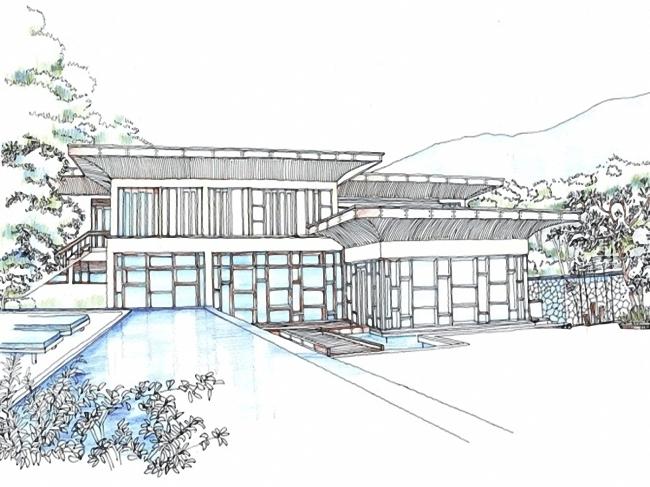 别墅素描设计图片