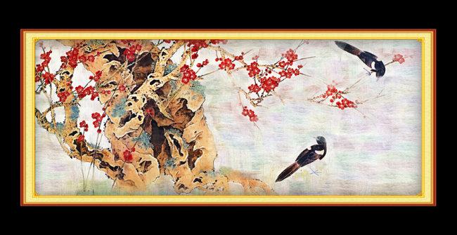 梅花 树枝油画装饰图片