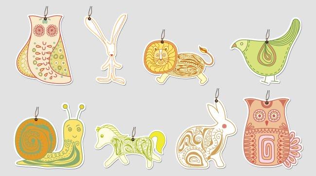 八款抽象动物书签psd下载