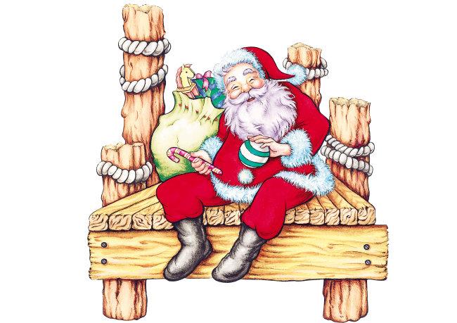 休闲q版圣诞老人 圣诞节