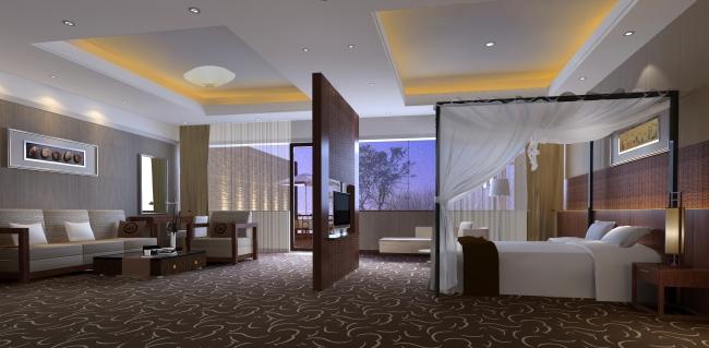 4星级度假酒店vip客房装潢效果图