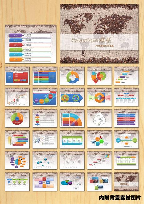 世界地图咖啡PPT模板