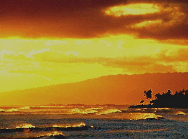 黄昏 风景 海边 傍晚 油画