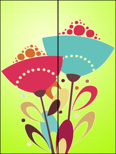 简洁花朵玻璃移门图案psd下载
