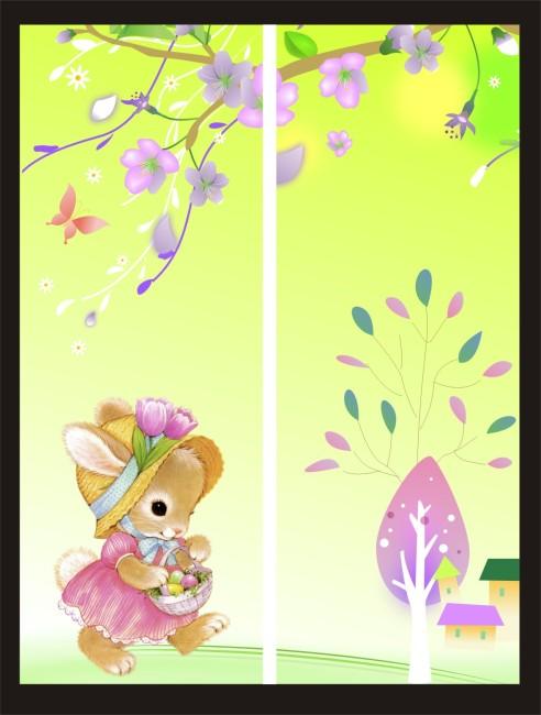 花朵与兔子移门