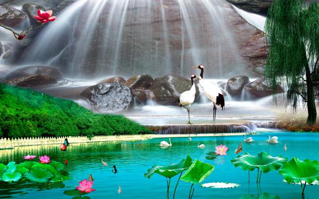 财源滚滚 山水风景画图片