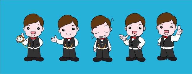 卡通小管家-人物插画-插画 马年素材 元素 卡通
