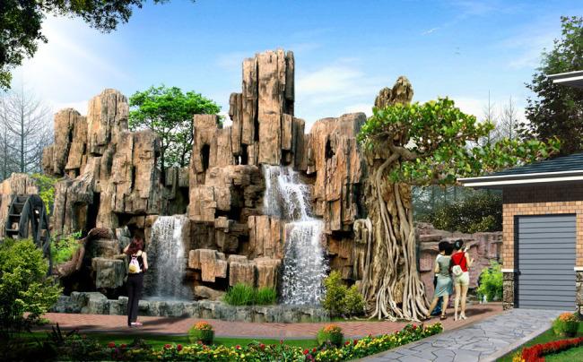 假山水系效果图-园林景观设计-其他
