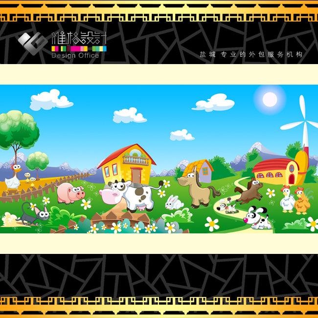 绿色卡通幼儿园广告背景