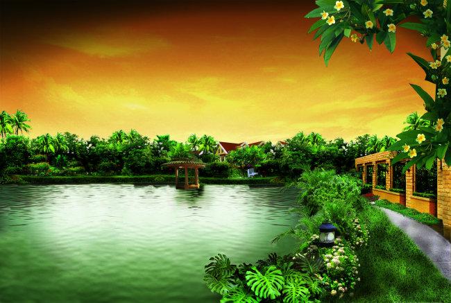 美丽自然风景海报背景