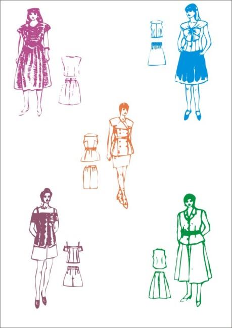 服装草图 服装设计图 时尚品味 连衣裙 裙 夏装系列 时装系列 迷你裙