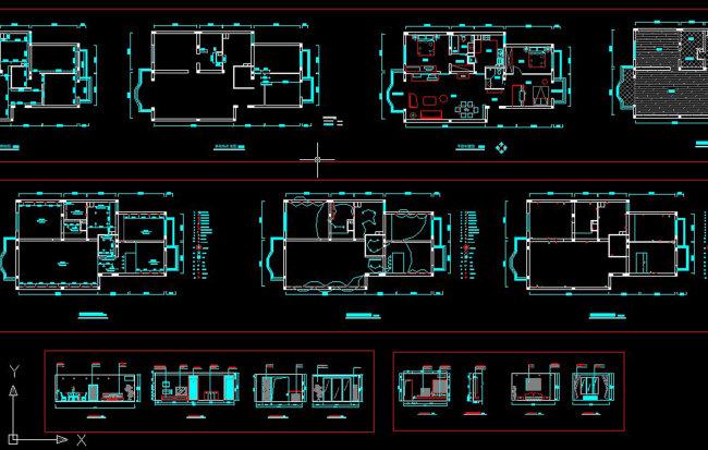 两室两厅两卫cad施工图纸 高清图片