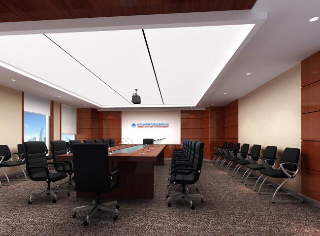 室内设计多人会议室设计效果图