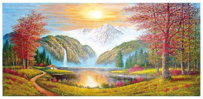 436 mb  油画风景 鸿运满堂 山水风景画 室内装饰画 阳光 枫树