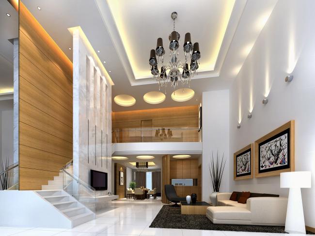 豪华别墅双层客厅欧式效果图