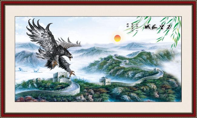 万里长城风景画手绘高清psd源文件