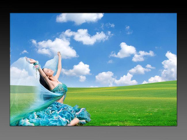 蓝天白云 风景海报背景模板