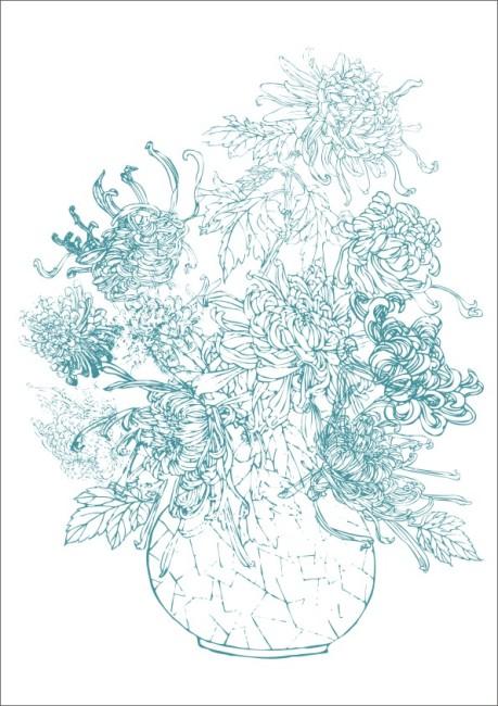 菊花盆景-素描画