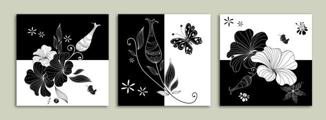 矢量无框画 黑白花卉