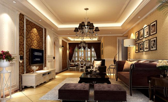豪华欧式客厅效果图