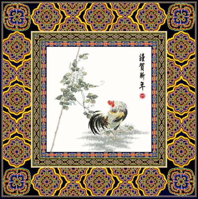 藏族民族花纹圆
