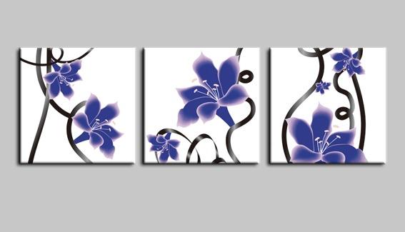 蓝色花朵 装饰画