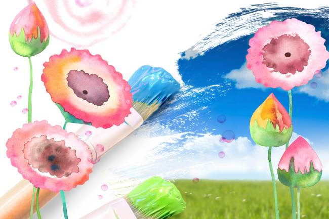 手绘花盆花朵图形 水彩画花盆背景