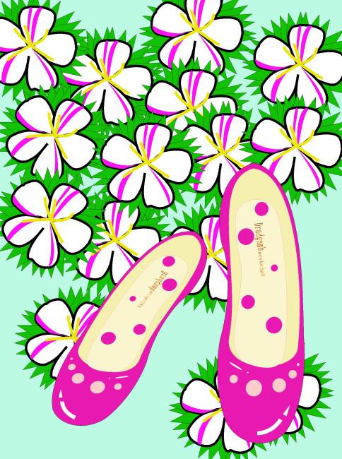 手绘鞋子 手绘花朵