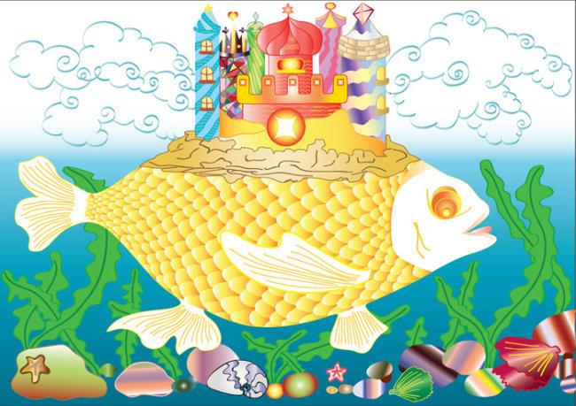 简笔画海底城堡彩色