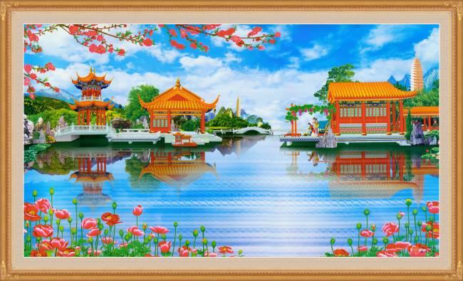 中堂画 壁画 山水风景画图片