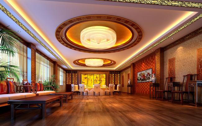 室内设计豪华高档大气的酒店餐饮包间效果图