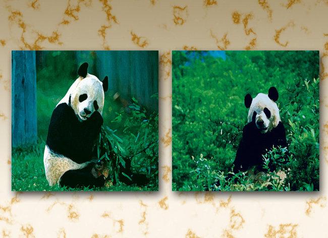 油画熊猫无框画
