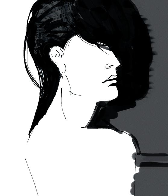 手绘女人黑白背影