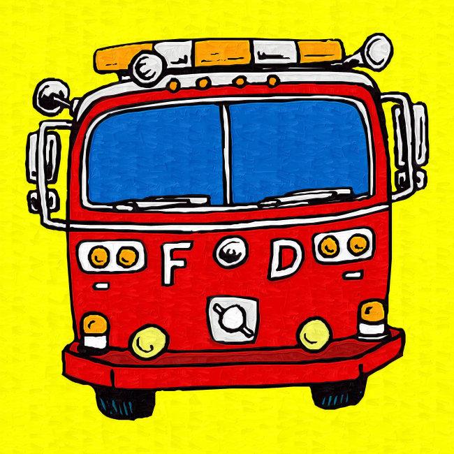 油画-消防车-油画-室内装饰|无框画|背景墙