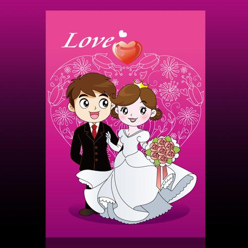 卡通新郎新娘素材