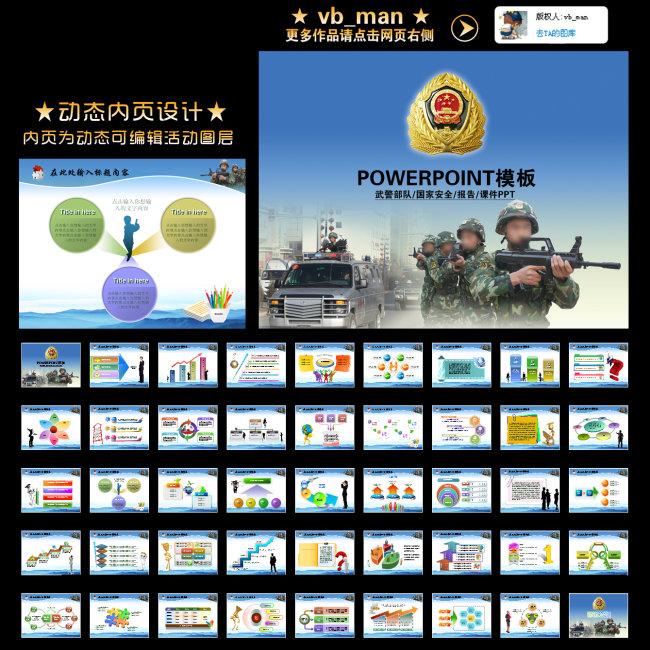 武警部队演习国防安全课件幻灯片ppt模板
