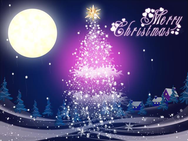 ppt 圣诞节 圣诞树 月亮
