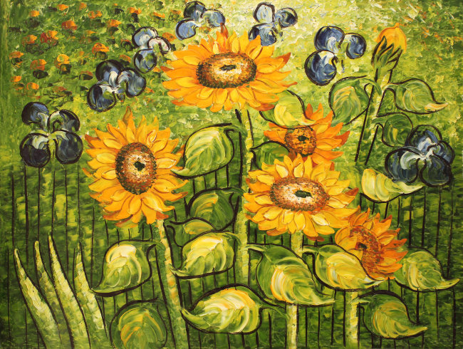 油画向日葵